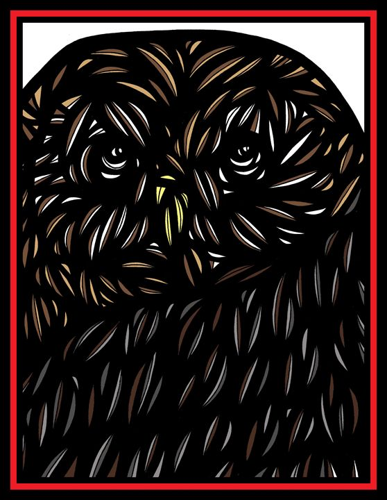 Imbue Owl Yellow Brown Black White - 631 Art