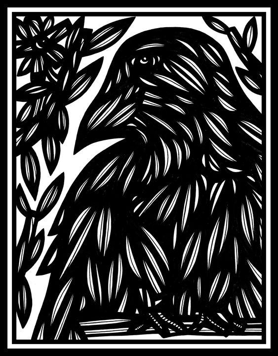 Echolalia Eagle Hawk Black and White - 631 Art