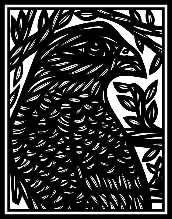 Vestigial Eagle Hawk Black and White - 631 Art
