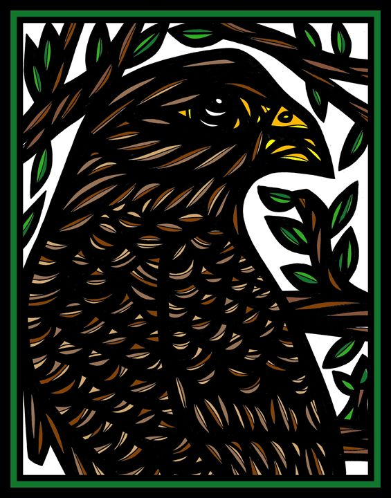Bucolic Eagle Hawk Red Black - 631 Art