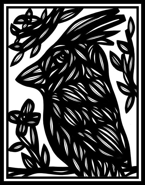 Acquiesce Bird Black and White - 631 Art