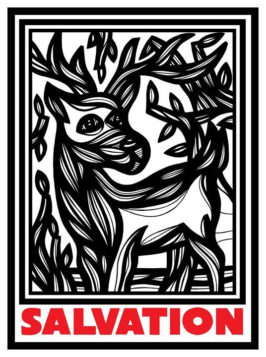 Imbue Ram Goat Antelope Deer Red Whi - 631 Art
