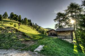 Landscape Cabin With Mountains