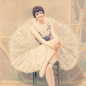Vintage ballerina girl painting