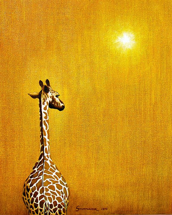 GIRAFFE LOOKING BACK - Jerome Fine Art