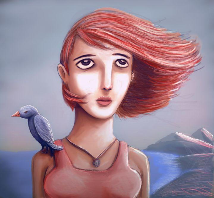 Pretty Girl And Her Bird - Rui Barros art illustration