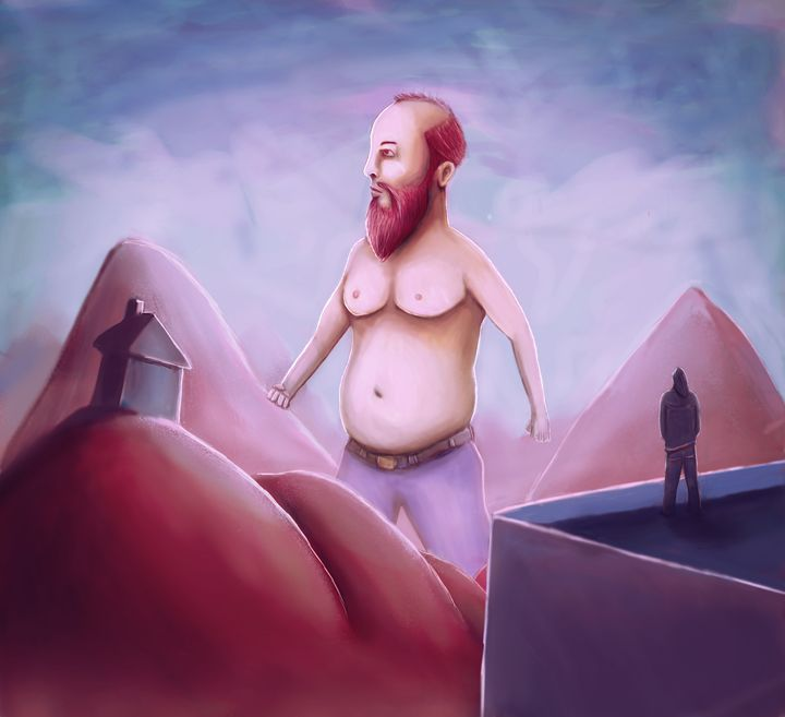 Fat Giant Red Bearded Man - Rui Barros art illustration