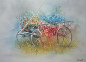 Old carriage with flowers