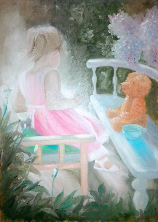 Girl and her teddy bear - Darko