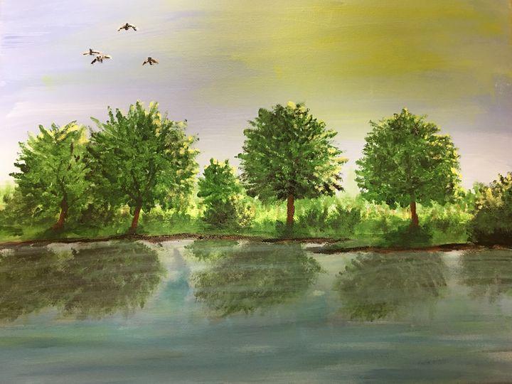 Ducks Over Pond - John Thiem