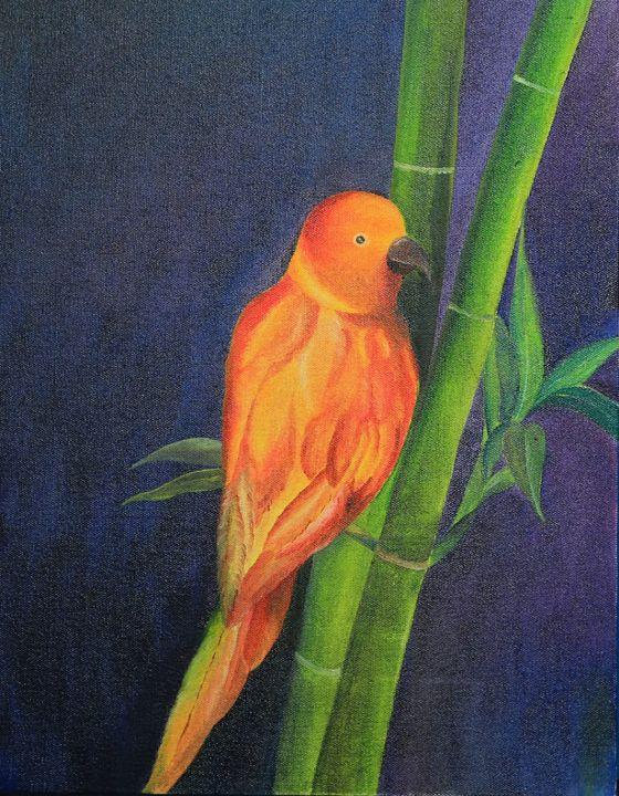 Parrot on bamboo - Sajitha's