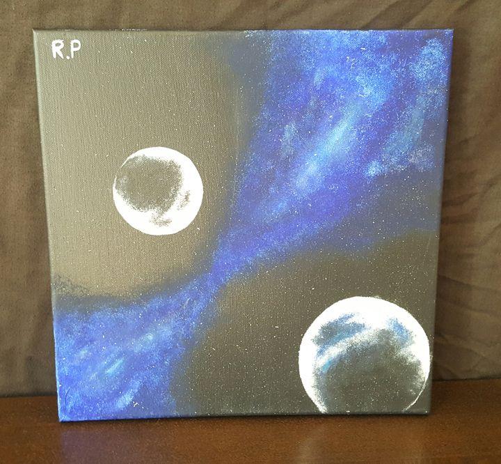 Blue Two Moon Galaxy - Art by Renè