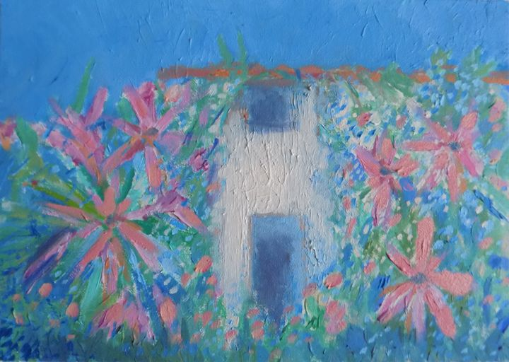 Cottage in bloom - Nicola Milliner Art