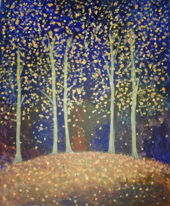 Trees in moonlight - Nicola Milliner Art