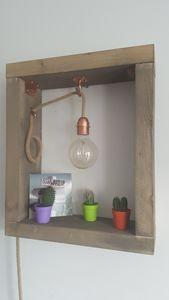lampe bois finition cuivre