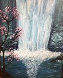 Midnight waterfall painting