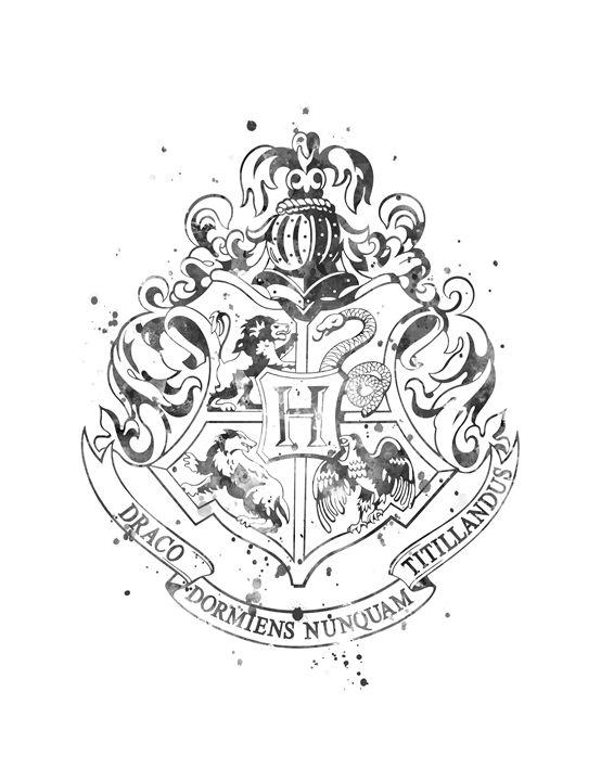 Hogwarts Crest Black and White - MonnPrint