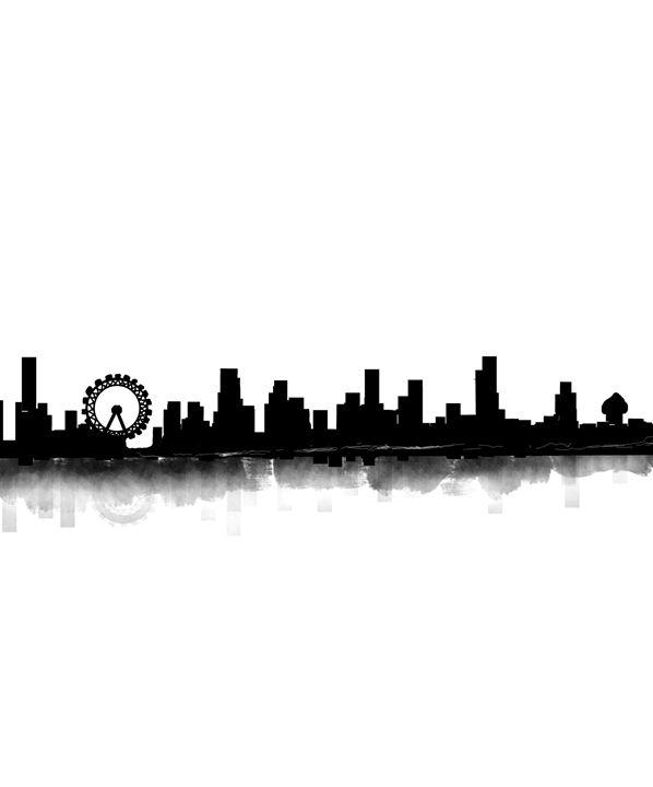 black and white city skyline -  Khushbu.rangari