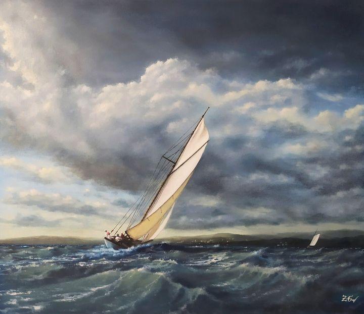 ''Vintage yacht in action N3.'' - Zigmars Grundmanis
