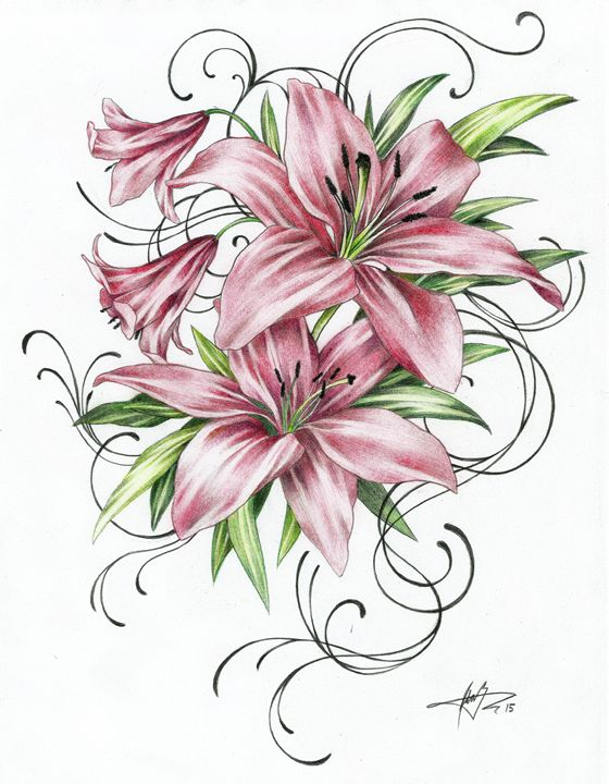1503 - Red Lilies - Ginnungagap Tattoo Designs