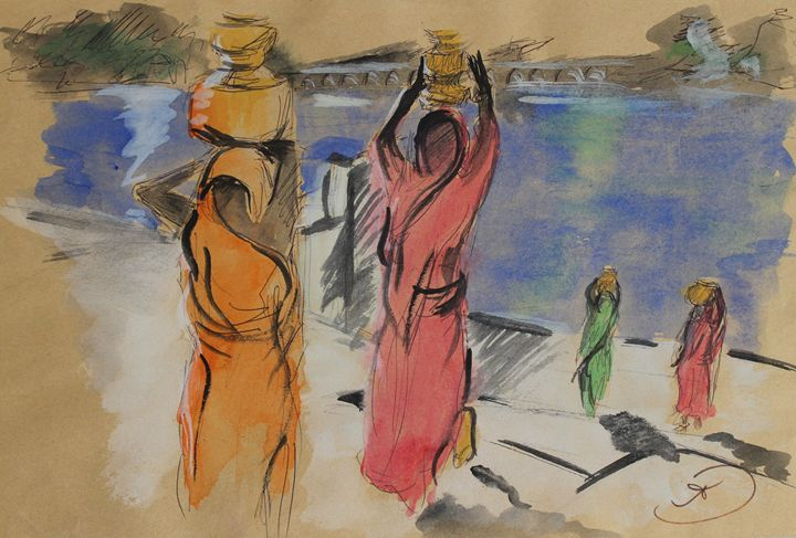 Women carrying water from Pushkar La - Travels with my Art