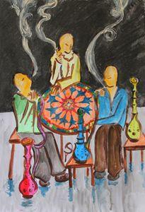 Smoking shisha at Jabri House