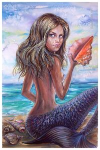 The mermaid with a conch shell