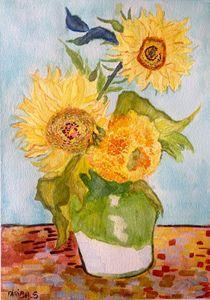 Van Gogh Sunflowers in watercolor