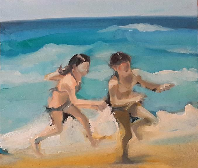 Children and Sea - Israeli Art