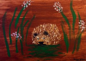 hedgehog on acrylics