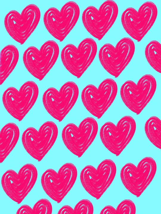 pink hearts - Hibba's art space