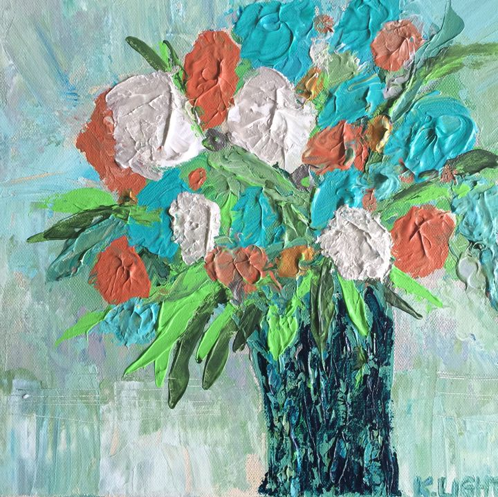 Turquoise & Coral Flowers - Kristen Light Gallery