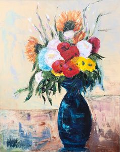 Mixed Flowers in Blue Vase