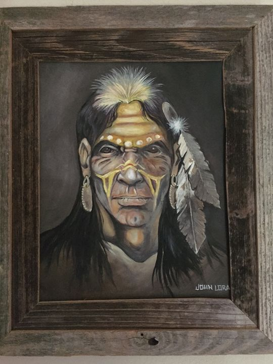 Native America Indian Oil Painting - OilsbyJohnLoraine