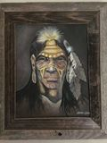 Oil painting of Native American Indi