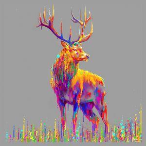 Vibrant multi coloured stag