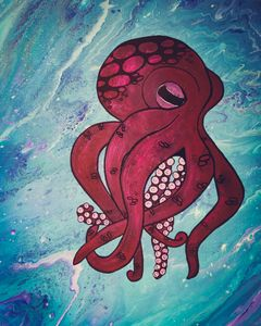 Catoon Octupus - Acrylic Paintings