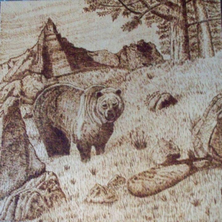 Grizzly Burned on wood - Ernie Westfall