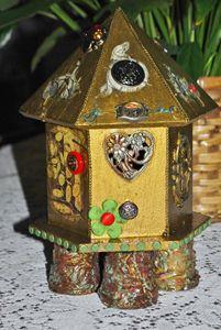 ON HOLD HSteampunk Bird House Decor - The Creativity Tree