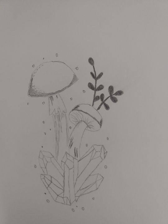 Mushrooms on crystal - Kaz's Kreations