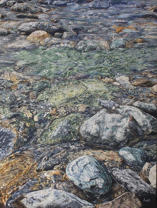 Mountain stream - Anne van den Broek Art and Illustrations