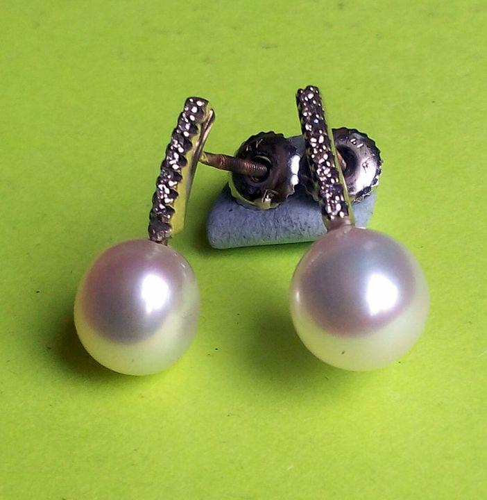 14K. diamond and Pearl earring-SOLD - JBiro