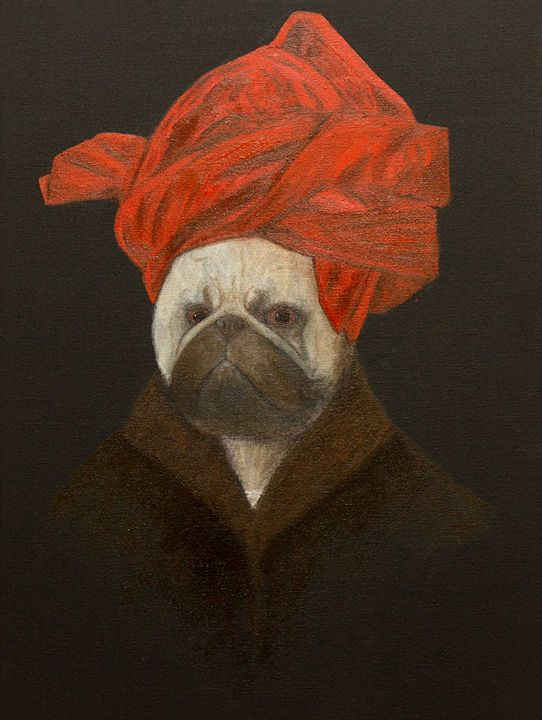 Portrait of a Pug in a Red Turban - WombArt