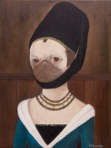 Portrait of a Young Girl. Pug - WombArt