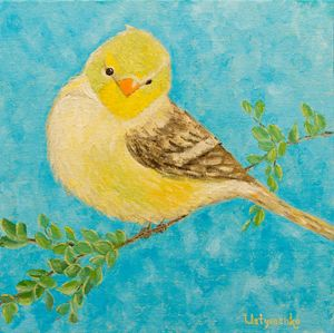 Herald of spring. Bird. Oil painting - WombArt