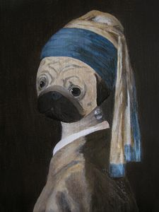 Pugmeer - Pug with a Pearl Earring - WombArt