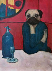 Pugasso - Absinth lover. Pug. Dog