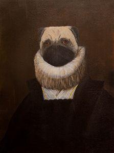 Portrait of Infanta Pugella. Pug Dog