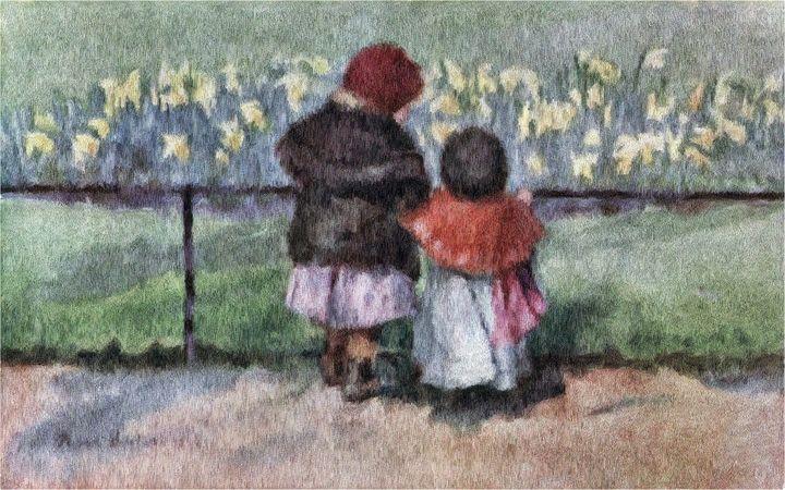 Admiring the Daffodils - Rogers Art Shop