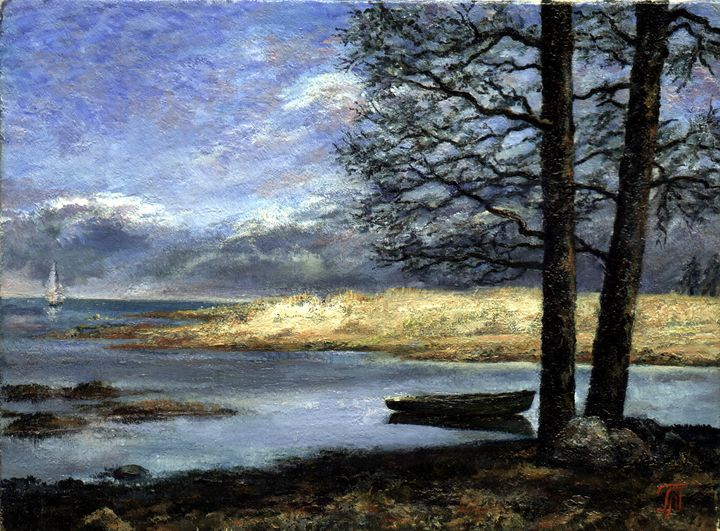 Landscape with a boat - Leonid Polotsky